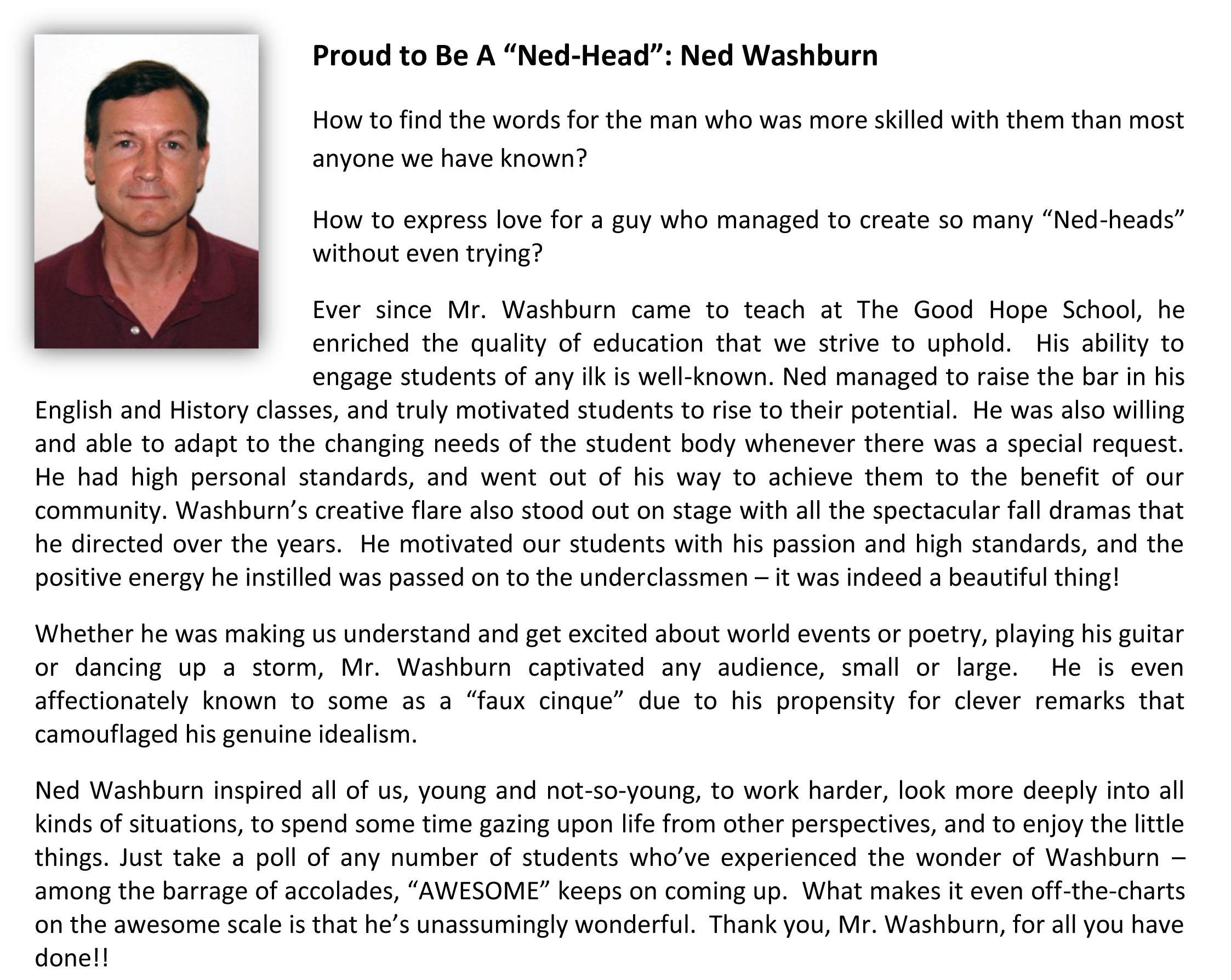Ned Washburn Bio